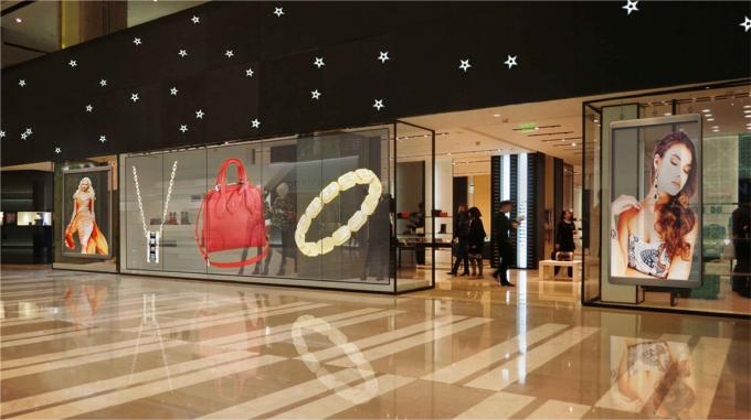 P3.91-7.82 Full Color Glass Advertising Transparent Led Display Screen For Shop Window
