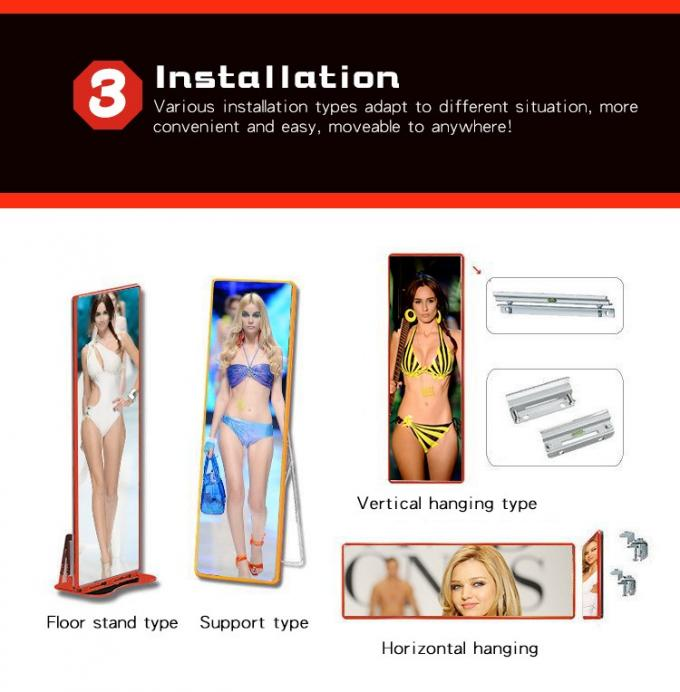 Shopping Mall Advertising P2mm HD LED Poster Display Floor Stand Alone Easy Moving 640*1920mm 3