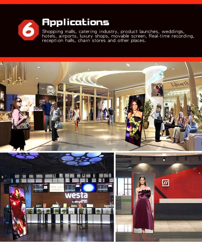 Shopping Mall Advertising P2mm HD LED Poster Display Floor Stand Alone Easy Moving 640*1920mm 6
