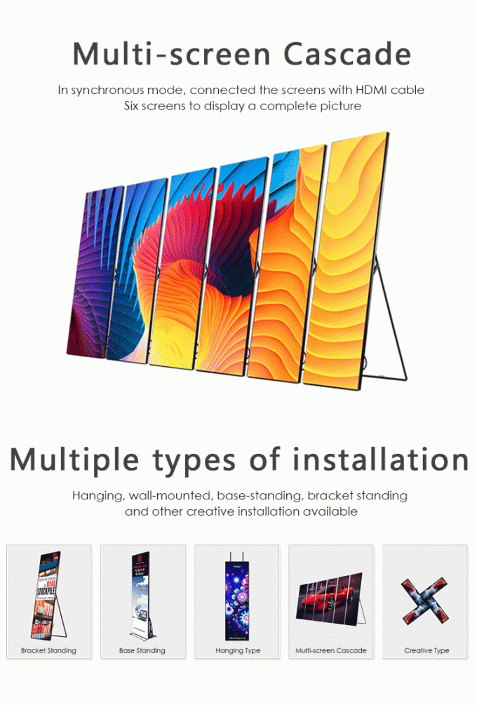 Shopping Mall Advertising P2mm HD LED Poster Display Floor Stand Alone Easy Moving 640*1920mm 7