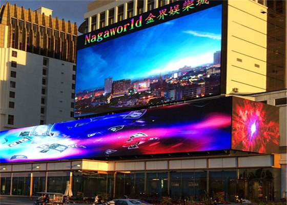 China Rich Colo 10mm HD Outdoor Fixed LED Display For Shops 1/4 Scan Mode factory