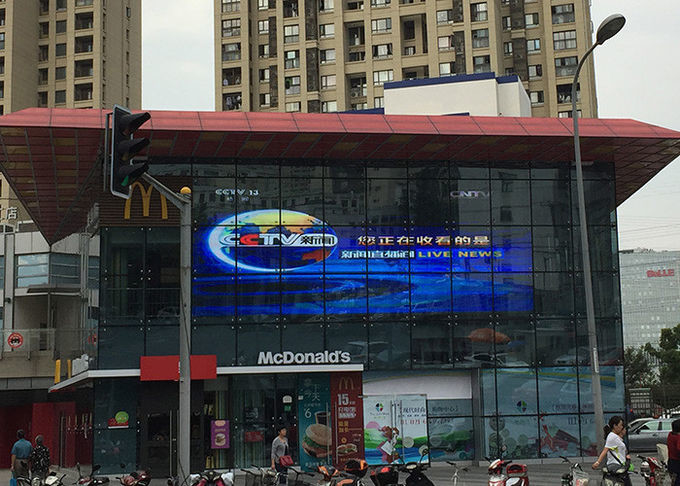 Commercial advertising P7.81 outdoor transparent led display Hanging Or Stacking Installation
