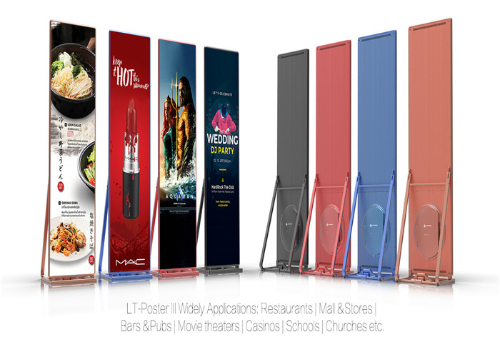 P2.5mm Floor Stand Poster LED Display, Portable LED Poster Board Full Color for xhibitions, Airports,Stations supplier