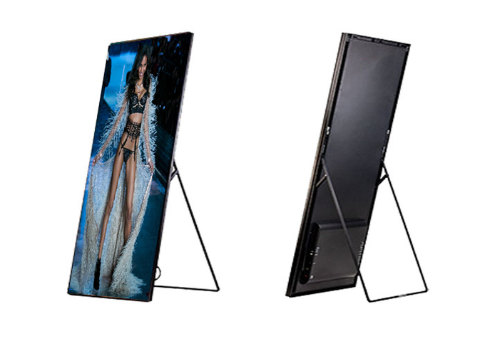 Shopping Mall Advertising P2mm HD LED Poster Display Floor Stand Alone Easy Moving 640*1920mm 13