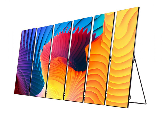 P2.5mm Floor Stand Poster LED Display, Portable LED Poster Board Full Color for xhibitions, Airports,Stations