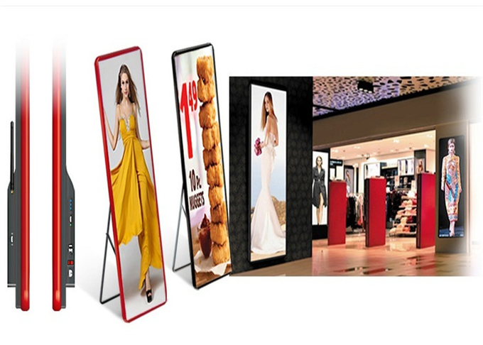 Shopping Mall Advertising P2mm HD LED Poster Display Floor Stand Alone Easy Moving 640*1920mm 12