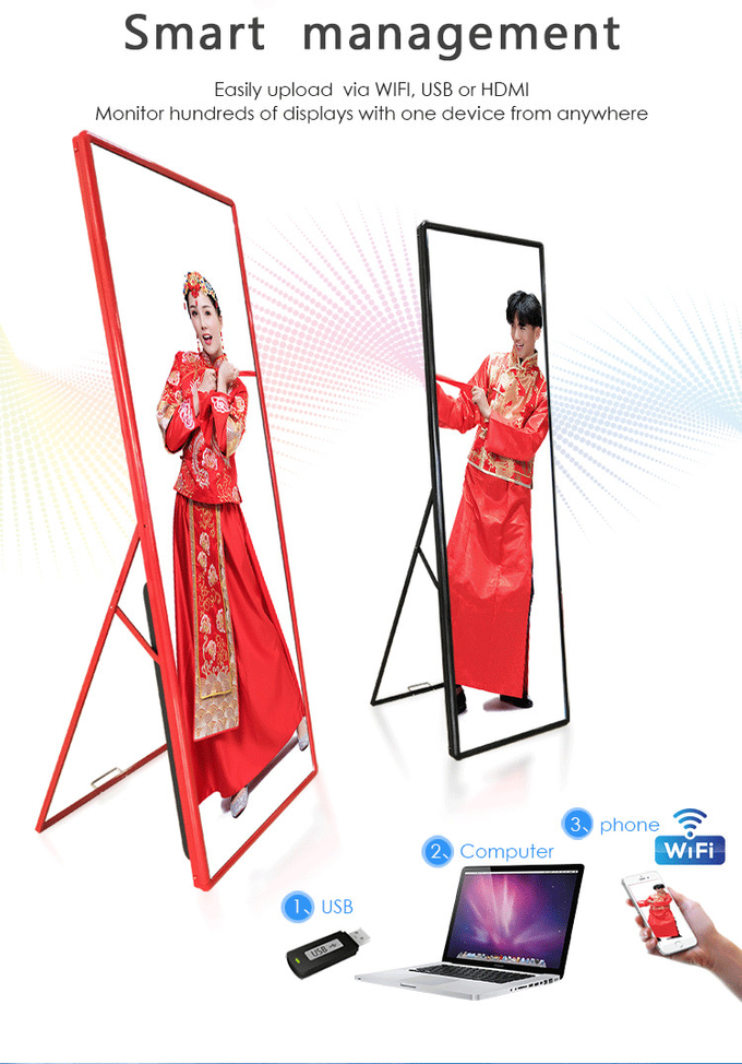 Hotel Restaurant Indoor advertising player P2mm Super HD LED Poster Display 640*1920mm 0